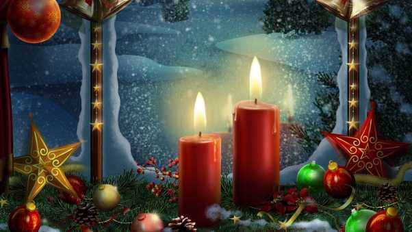 new year, holiday candles, postcards