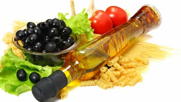 oil, olives, vegetables