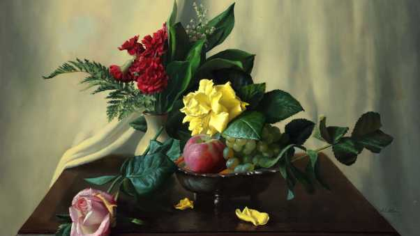 painting, still life, table