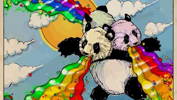 pandas, rainbows, clouds