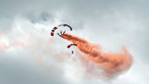 paraglider, smoke, flight