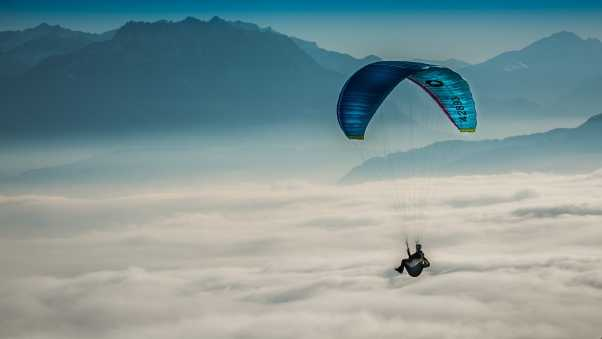 paragliding, sky, clouds