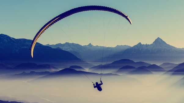 paragliding, sky, flight