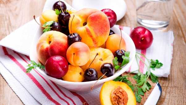 peaches, apricots, plums