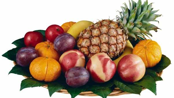 pineapple, plums, oranges