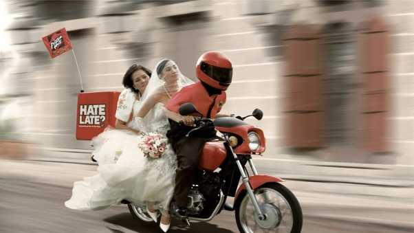 pizza hut ad, motorcycle, people
