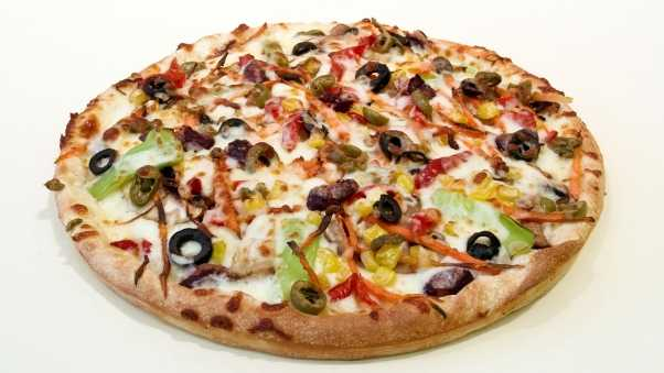 pizza, olives, cheese