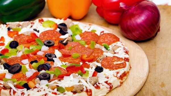 pizza, vegetables, cheese