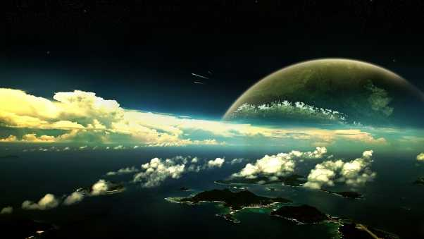 planet, clouds, sky