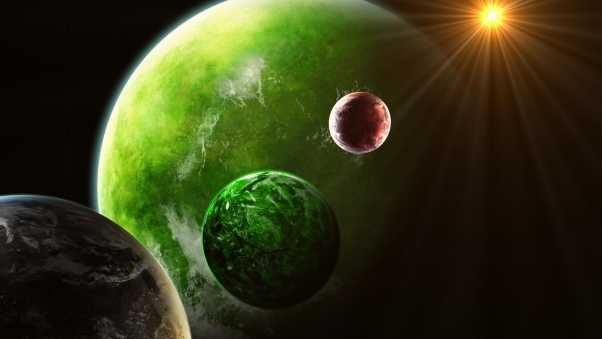 planets, green, red