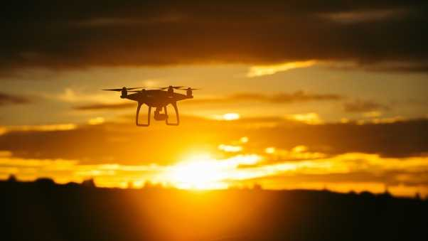 quadrocopter, sunset, sky
