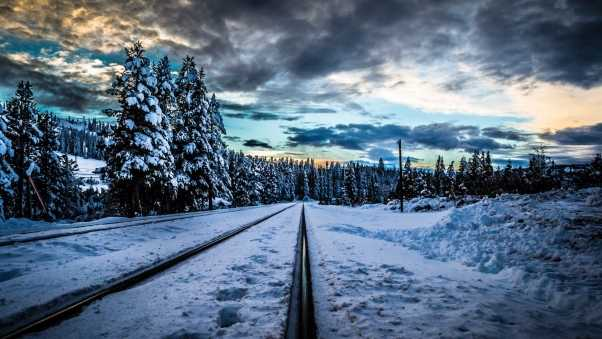 rails, railroad, winter