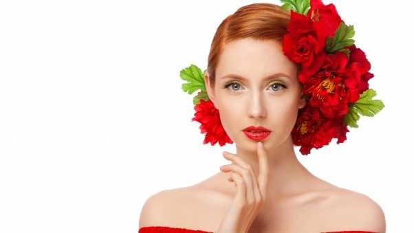 red hair, roses, flowers