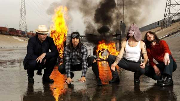 red hot chili peppers, fire, smoke