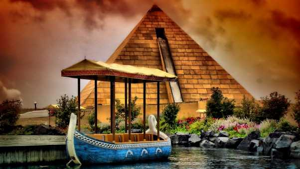 river, boat, pyramid