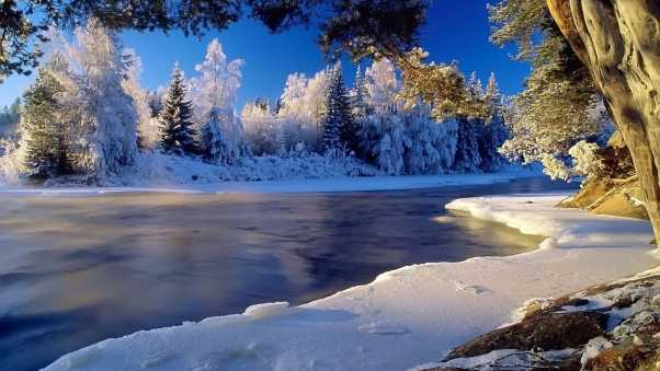 river, cold, ice