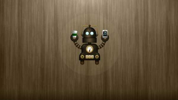 robot, glass, phone