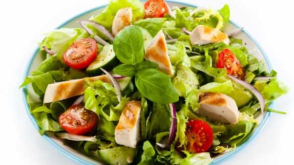salad, meat, tomatoes