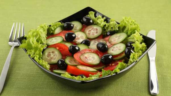 salad, vegetable, cucumbers