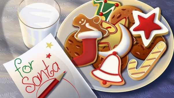 santa claus, breakfast, letter