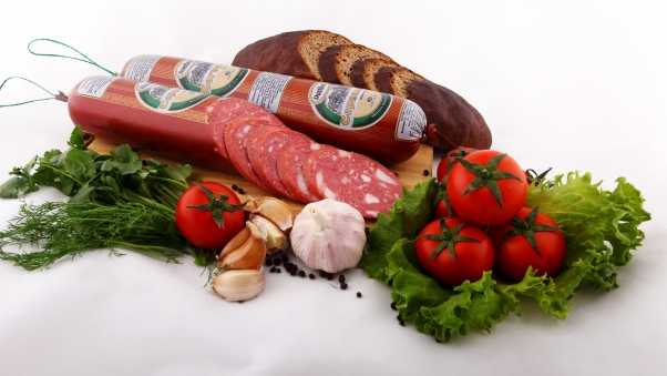 sausage, vegetables, still life