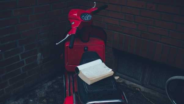 scooter, moped, book