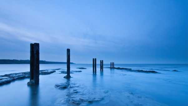 sea, water, stakes