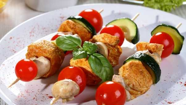 shish kebab, cherry, cucumbers
