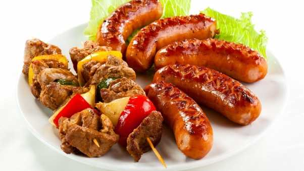 shish kebab, sausages, fried