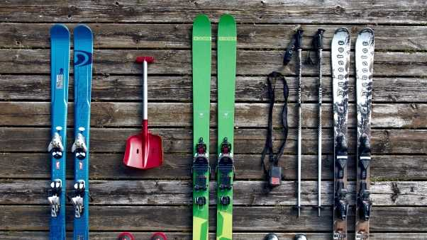 skis, equipment, boots
