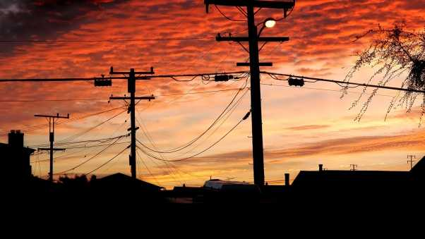 sky, sunset, wires