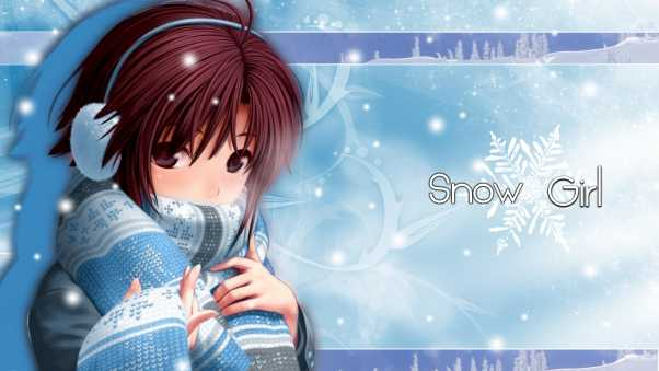 snow girl, scarves, headphones