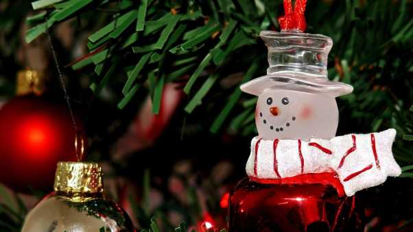 snowman, christmas decorations, branch