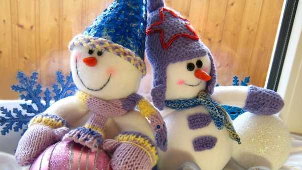 snowmen, sitting, couple