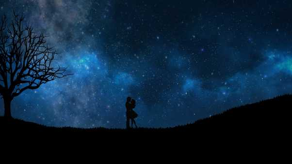 starry sky, couple, love