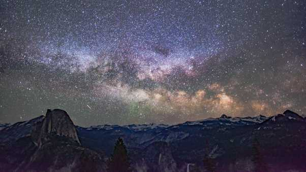 starry sky, mountains, galaxy