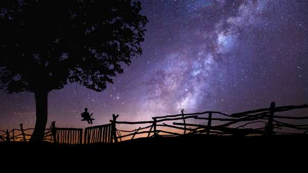 starry sky, silhouette, swing