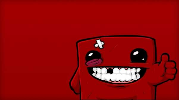 super meat boy, character, smile