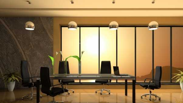 table, office chairs, glass