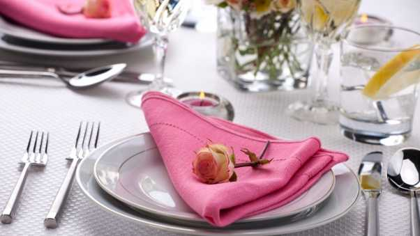 table setting, table, rose