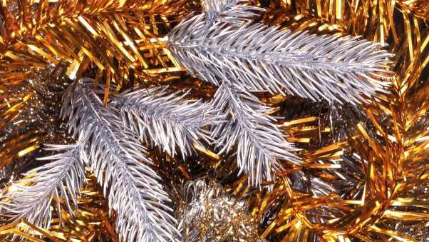 tinsel, gold, silver