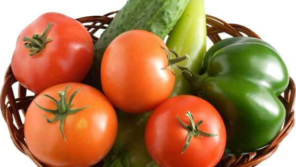 tomatoes, cucumbers, peppers