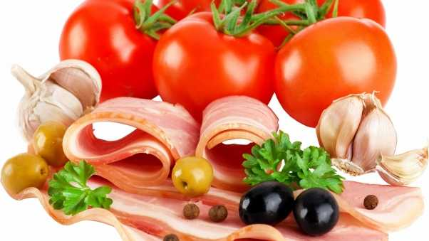 tomatoes, herbs, meat