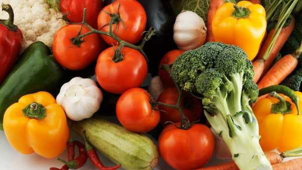 tomatoes, peppers, broccoli