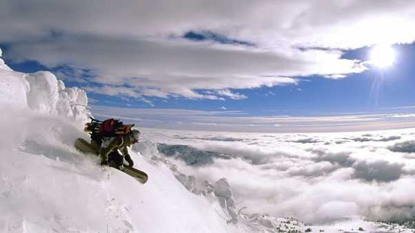 top, snowboard, descent