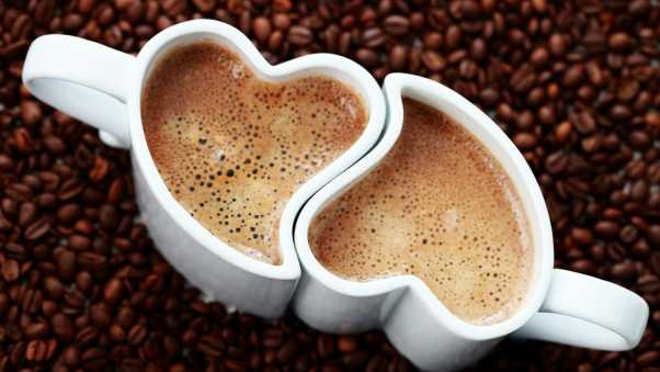 two cups, two hearts, coffee beans