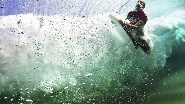 under water, surfing, board