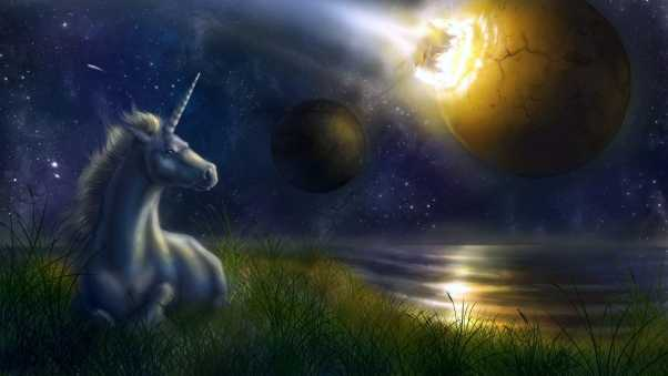 unicorn, night, space
