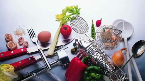 utensils, vegetables, food