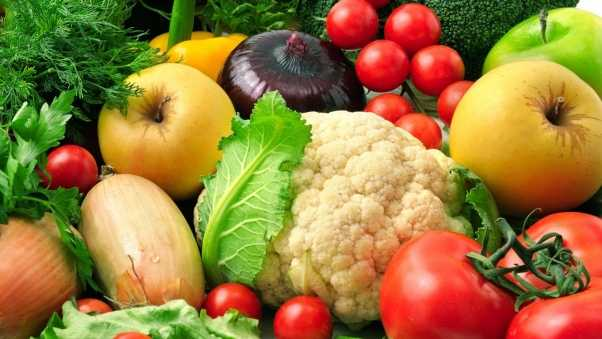 vegetables, fruits, onions
